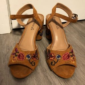 Brown Embroidered Heels